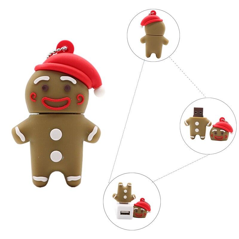Flash Usb 128gb Cartoon Gingerbread Man Pen Drive 4GB 8GB 16GB 32GB 64GB Usb Flash Drive Cute Memory Stick Creativt Pendrive Cle