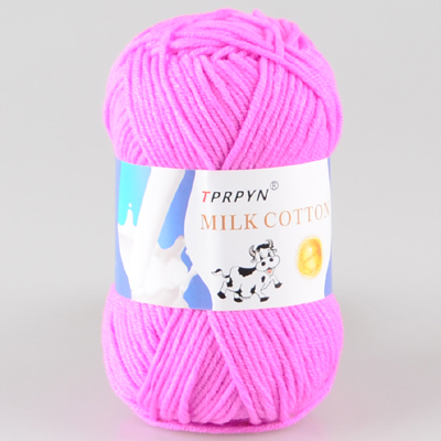 TPRPYN 1 шт. = 50 г пряжа для вязания крючком из молочного хлопка, мягкая теплая Детская Пряжа для ручного вязания - Цвет: 21 purple pink