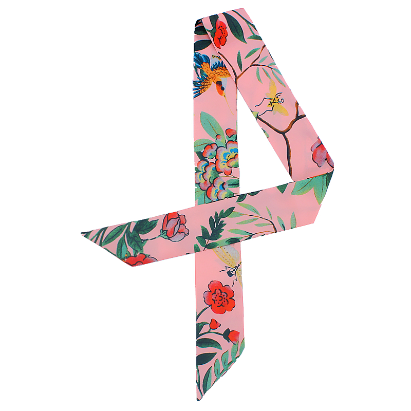POBING New Design Bird Floral Print Silk   Scarf   Women Head   Scarf   Brand Small Tie Handle Bag Ribbon Long   Scarves     Wraps   100*5CM