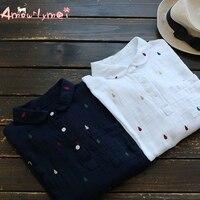 Amourlymei 2017 Autumn Women Shirt Mori Girl Turn Down Collar Embroidery Long Sleeve Cotton Linen Blouse