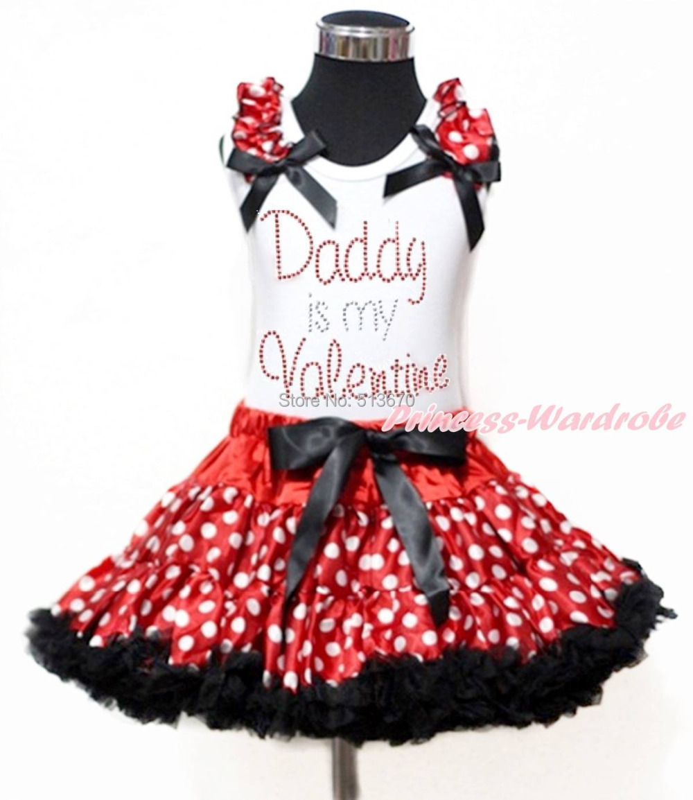 White Top Rhinestone Daddy Is My Valentine Print Minnie Girl Pettiskirt Set 1-8Y MAPSA0180 chupa chups