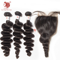 [FYNHA] Indian Virgin Hair Weave Loose Wave 3 Bundles With Lace Closure Human Hair Extensions