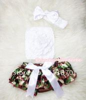 Camouflage Patterns Layer Panties Bloomer With Pure White Peony Crochet Tube Top And Bow Headband 3PC