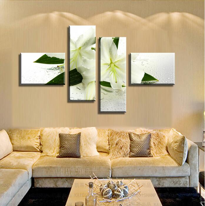 4 P Wall Art White Flowers Modern Canvas Painting Canvas Schilderij ...