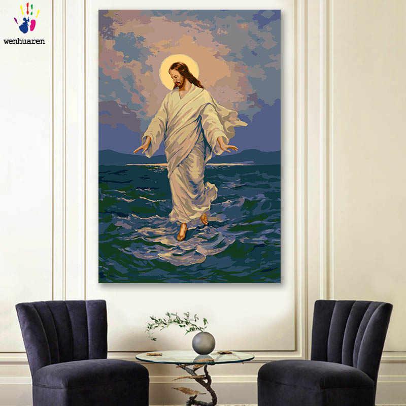 DIY 着色料による写真番号色創設者のキリスト教イエス画像描画数字額