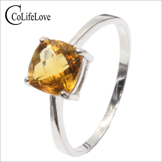 Hot sale luxury silver ring high quality 100% natural citrine ring real 925 Soli