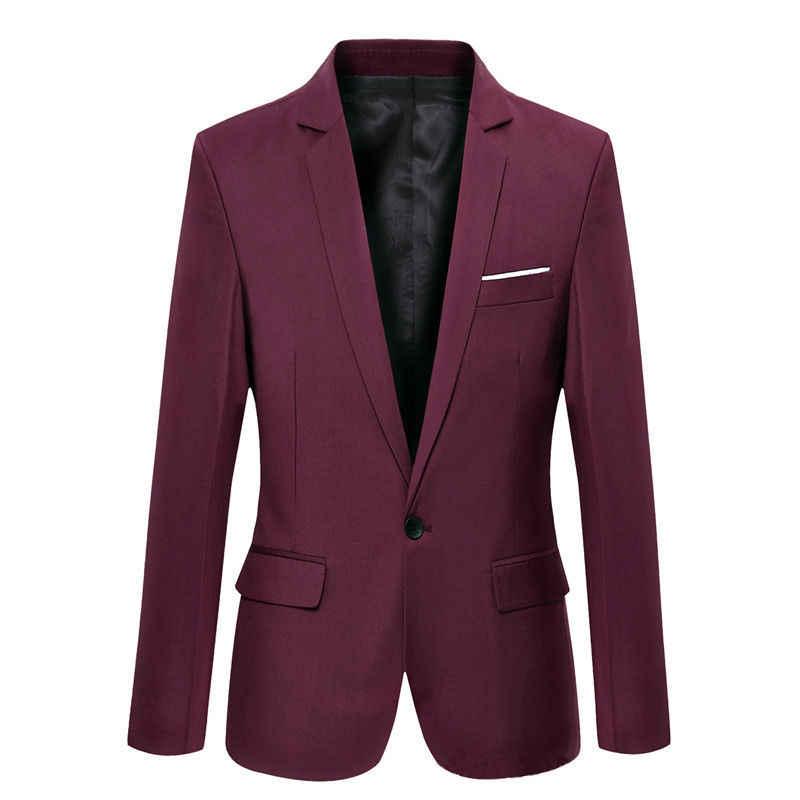 2019 メンズフォーマルスリムフィットワンボタンスーツ長袖ノッチブレザー綿ブレンドコートジャケットトップ S-4XL
