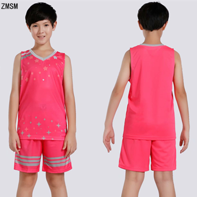 90a580a32 ZMSM Kids Basketball Jerseys Sets Boys   Girls High quality Basketball Vest    Shorts Star printed sportswear For Children WT1851