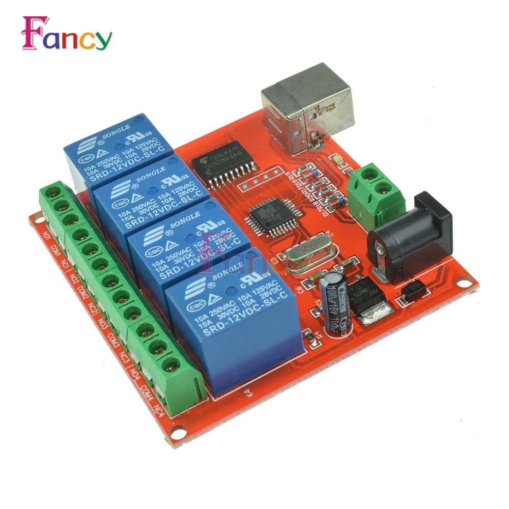 4 Channel DC 12V Computer USB Control Switch Drive Relay Module PC Intelligent Controller 4-way 12V Relay Module dc 12v led display digital delay timer control switch module plc automation new