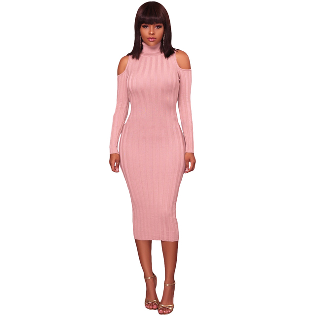 Women Cold Shoulder Midi Dress Turtleneck Long Sleeve Solid Bodycon Sexy  Dress Casual Party Off The Shoulder Pencil Dress 2019 315ba6cdf566