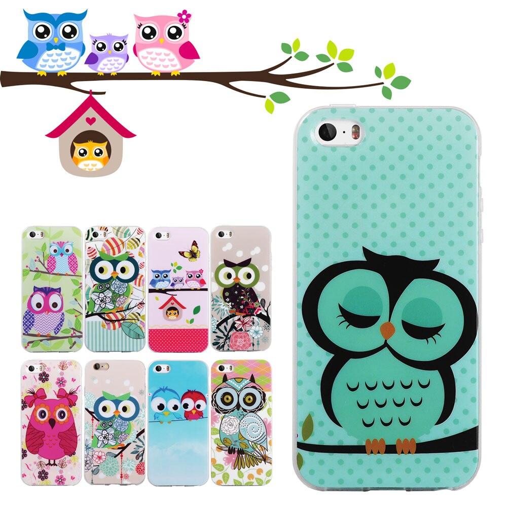 LANCASE For iPhone 5S Case Cute Owl Soft TPU Gel Silicone Case For iPhone 5 5S SE 6 6S 6 Plus 7 7 Plus 8 8 Plus Phone Case Cover