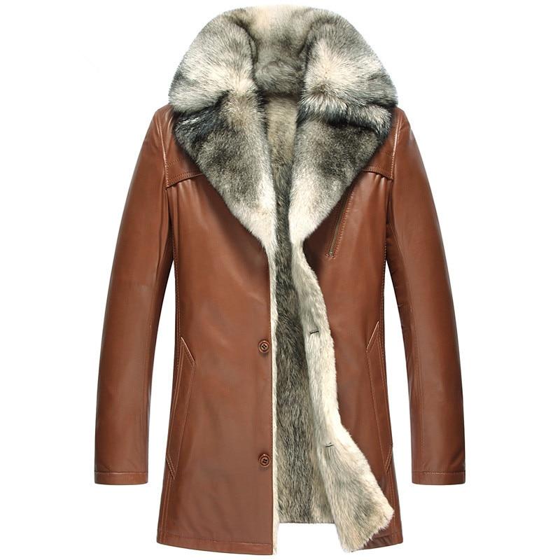 Chaqueta de cuero genuino de los hombres lobo piel abrigo de invierno chaqueta de los hombres de lujo de piel de oveja cálido abrigos Plus tamaño Veste Homme 5051 MY1629