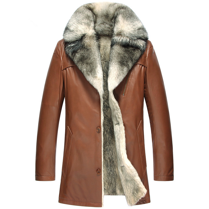 Genuine Leather Jacket Men Natural Wolf Fur Coat Winter Jacket Men Luxury Sheepskin Warm Coats Plus Size Veste Homme 5051 MY1629