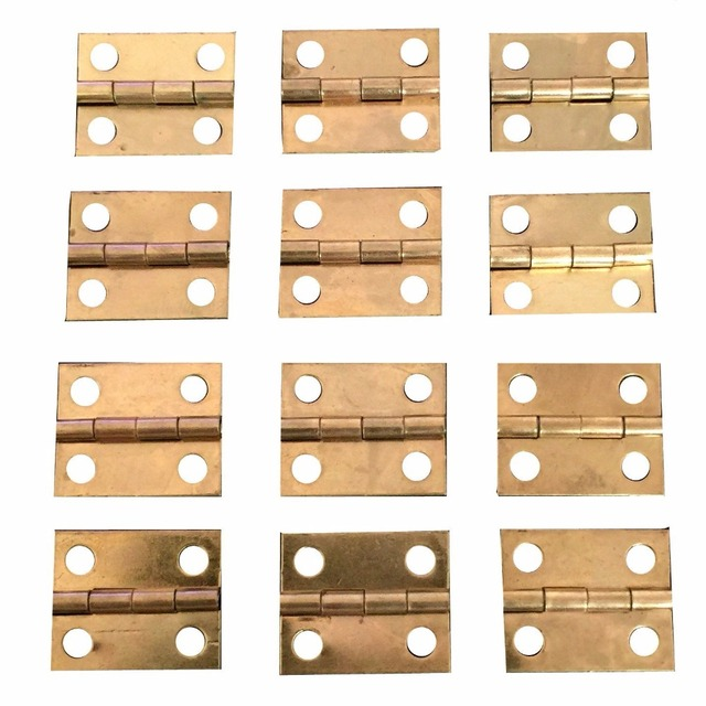 100 PCS 10*8 Mini Cabinet Drawer Butt Hinge Copper Gold Small Hinge 4 Small