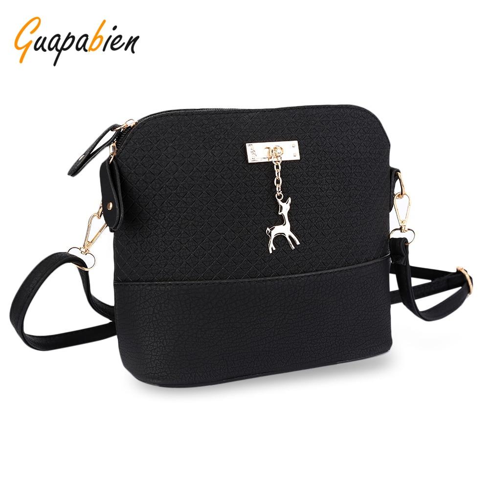 Guapabien Women Shoulder Messenger Bag Kawaii Mini Bag With Deer Small Clutch Phone Bag Girls Shell Shape Leather Plaid Handbags