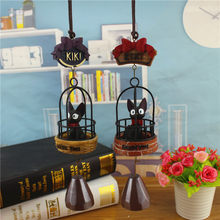 Cartoon Magic Gigi Cat Small Black Cat Small Cage Wind Chime Crafts Iron Bird Cage Wind Chimes Bell Home Decor Student Toy Gifts(China)