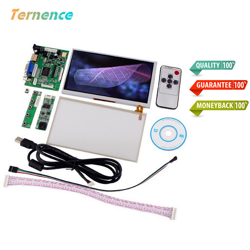 Skylarpu 7''Inch LCD AT070TN90 for HDMI/VGA/AV Control Driver Board Card+Touch Screen AT070TN92 800x480 LCD Display Raspberry Pi new 7 inch p76ti 20000938 00 at070tn90 v 1 30 taiwan lcd display screen 20000938 5mm 20000938 3mm