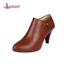 sweet Brand womens shoes woman pumps Winter Gladiator PU Zipper Pointed Toe Spike Heels Fashion Zipper LeisureB22(3)