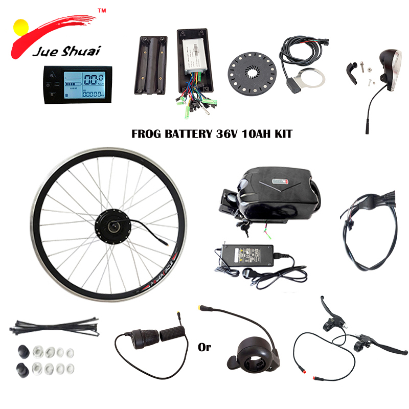 JS 350W E bike Conversion Kit with Scooter Frog Battery with Charger 36V 10ah Front Hub Motor Electric Bicycle Kits LCD Display 12 front wheel electric scooter kit electric scooter spare parts electric skateboard conversion kit