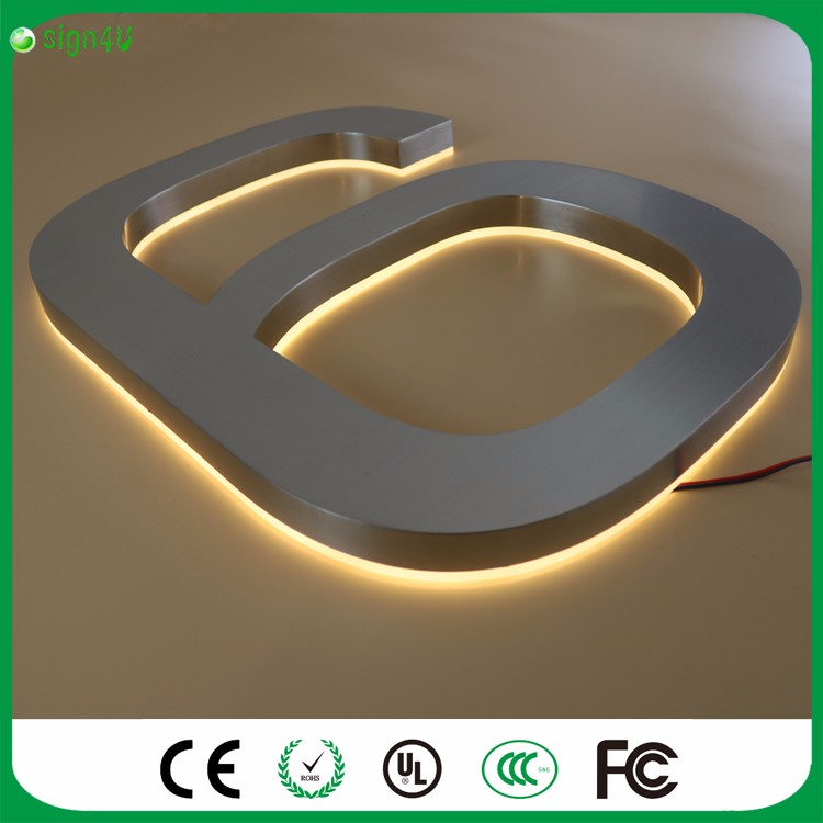 ФОТО Wholesale brushed chrome stainless steel LED backlit house numbers for home decor