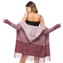 Fall Winter Middle Long Hooded Boho Fringe Cardigan for Women Kawaii Ladies Bohemian Hippie Tassel Sweater Coat Plus Size S-XL