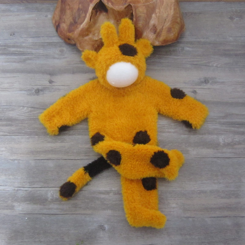 Outfits Bodysuit Photography-Props Fuzzy Giraffe Newborn Baby Knit in Plush Spots The-Tail