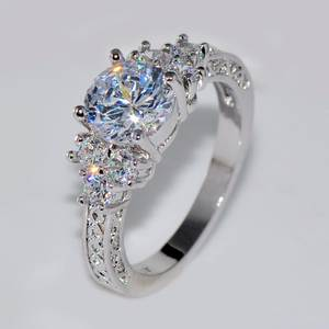 Bamos Engagement Rings Promise Round Female Silver-Color Girls Women Cute Luxury White