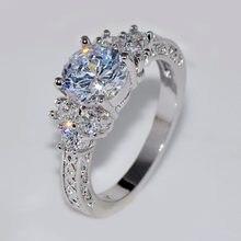 Bamos-bague de mariage ronde blanche pour filles, anneau de mariage de luxe, en pierre CZ, couleur argent, fiançailles, promesse