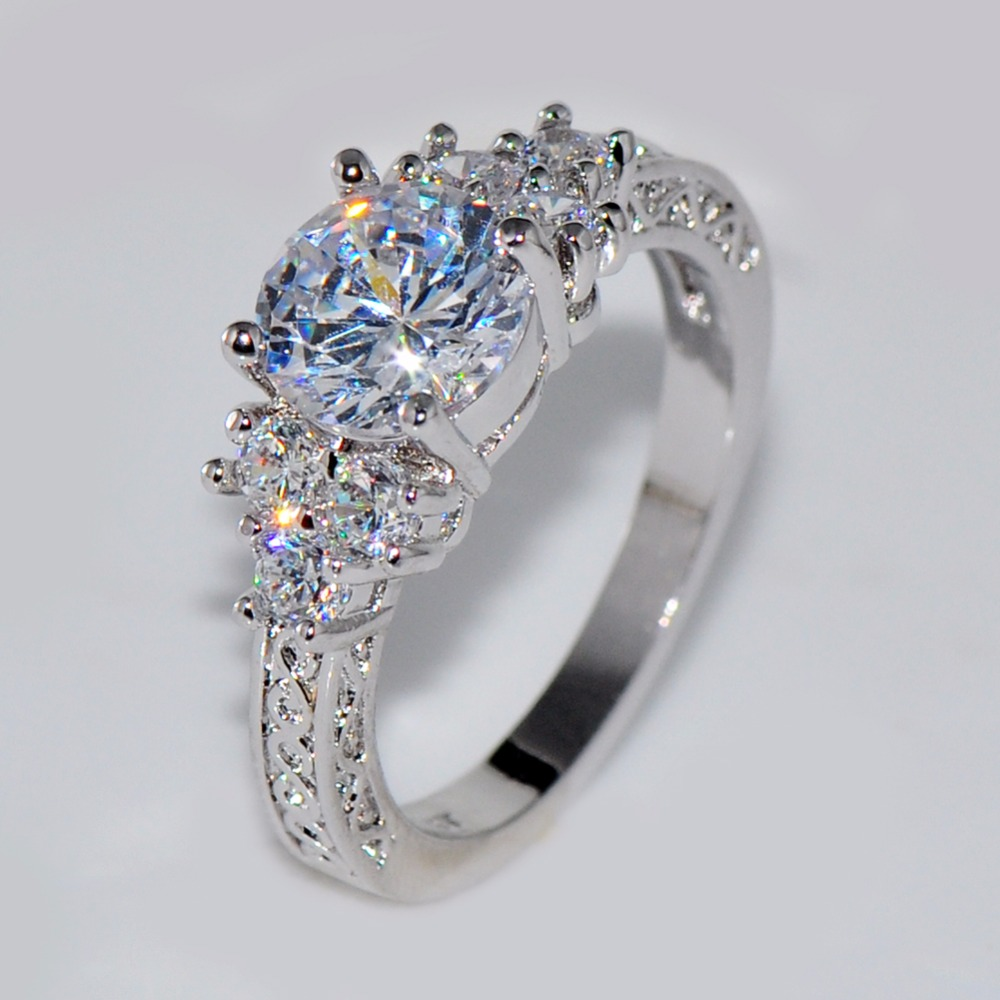 Hochzeits- & Verlobungs-schmuck Sanft Bamos Niedliche Weibliche Mädchen Weiß Runde Hochzeit Ring Luxus 925 Sterling Silber Cz Stein Ring Versprechen Engagement Ringe Für Frauen Kann Wiederholt Umgeformt Werden.