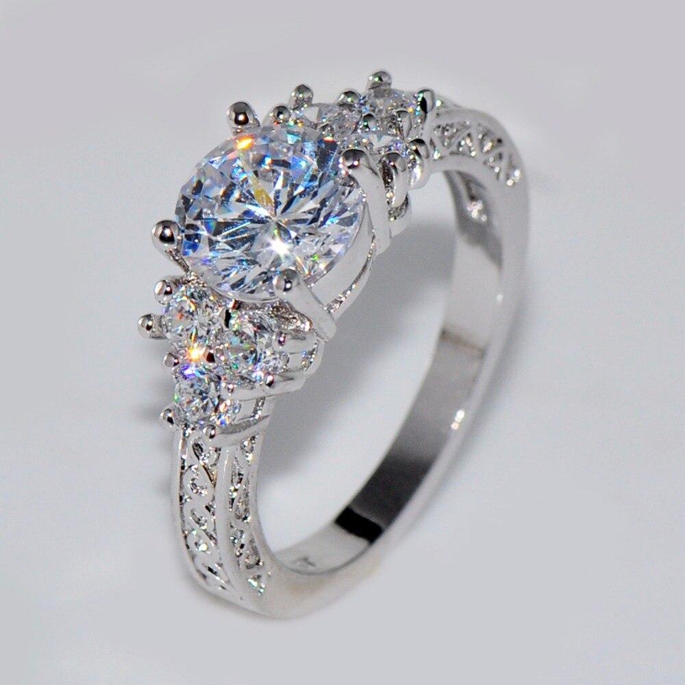 Bamos śliczne kobiece dziewczyny biały okrągły obrączka luksusowy kolor srebrny CZ kamienny pierścień obietnica obrączki dla kobiet