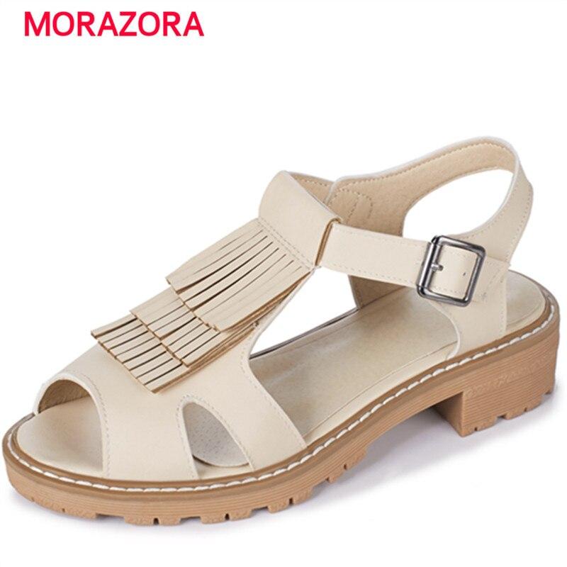 MORAZORA PU tassel buckle platform summer shoes fashion hot sale med heels shoes sandals women 4cm gladiator plus size 34-43