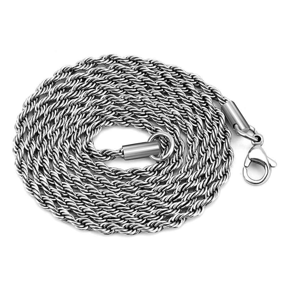 Wholesale 316L Stainless Steel 2MM 3MM Twisted Chain Necklace Fashion Jewelry For Men and Women Titanium Steel Long Necklace