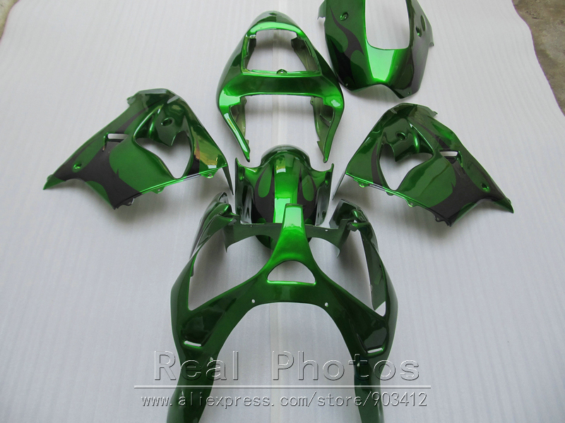 New hot moto parts fairing kit for Kawasaki Ninja ZX9R 2000 2001 green black fairings set