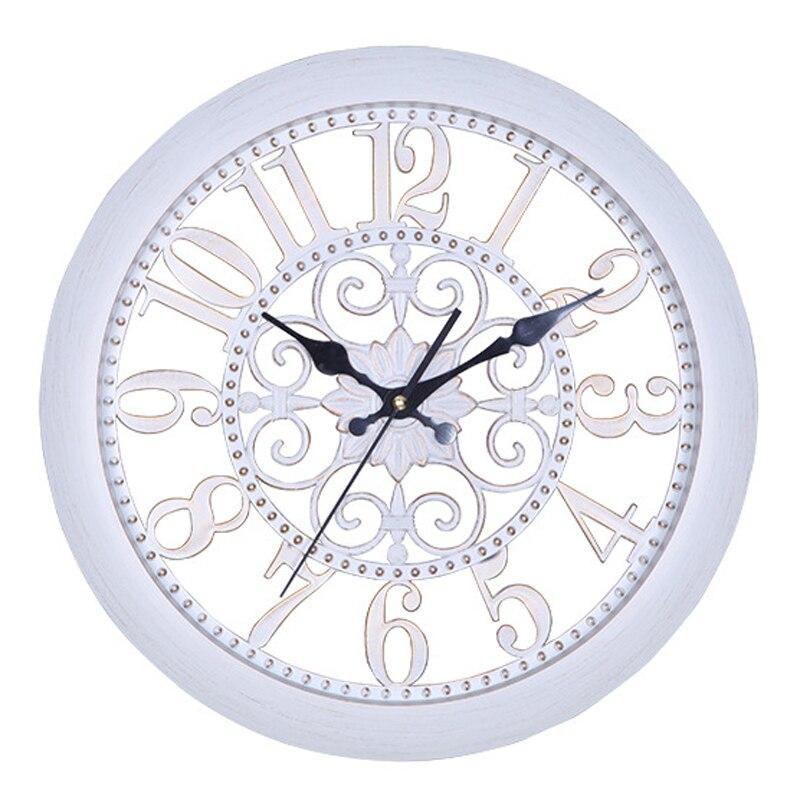 Creative Rétro Horloge Murale Décorative Salon Européen Antique Style Suspendus Montre Creux Horloges aucun Verre Silencieux 14 pouce