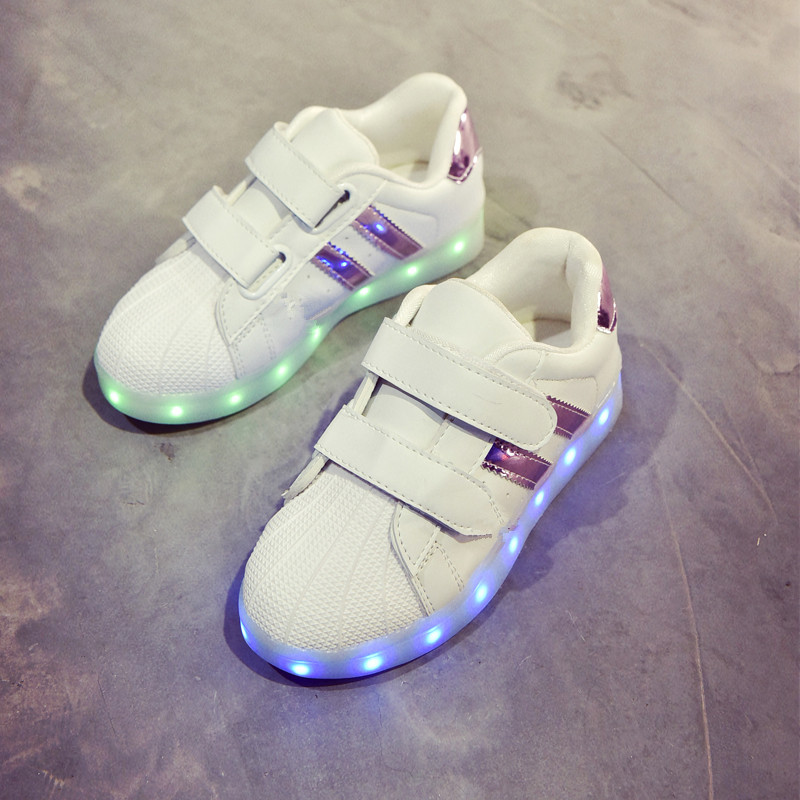 Childrens light shoes boys and girls led light new light childrens shoes usb charge sports leisure colorful shoes