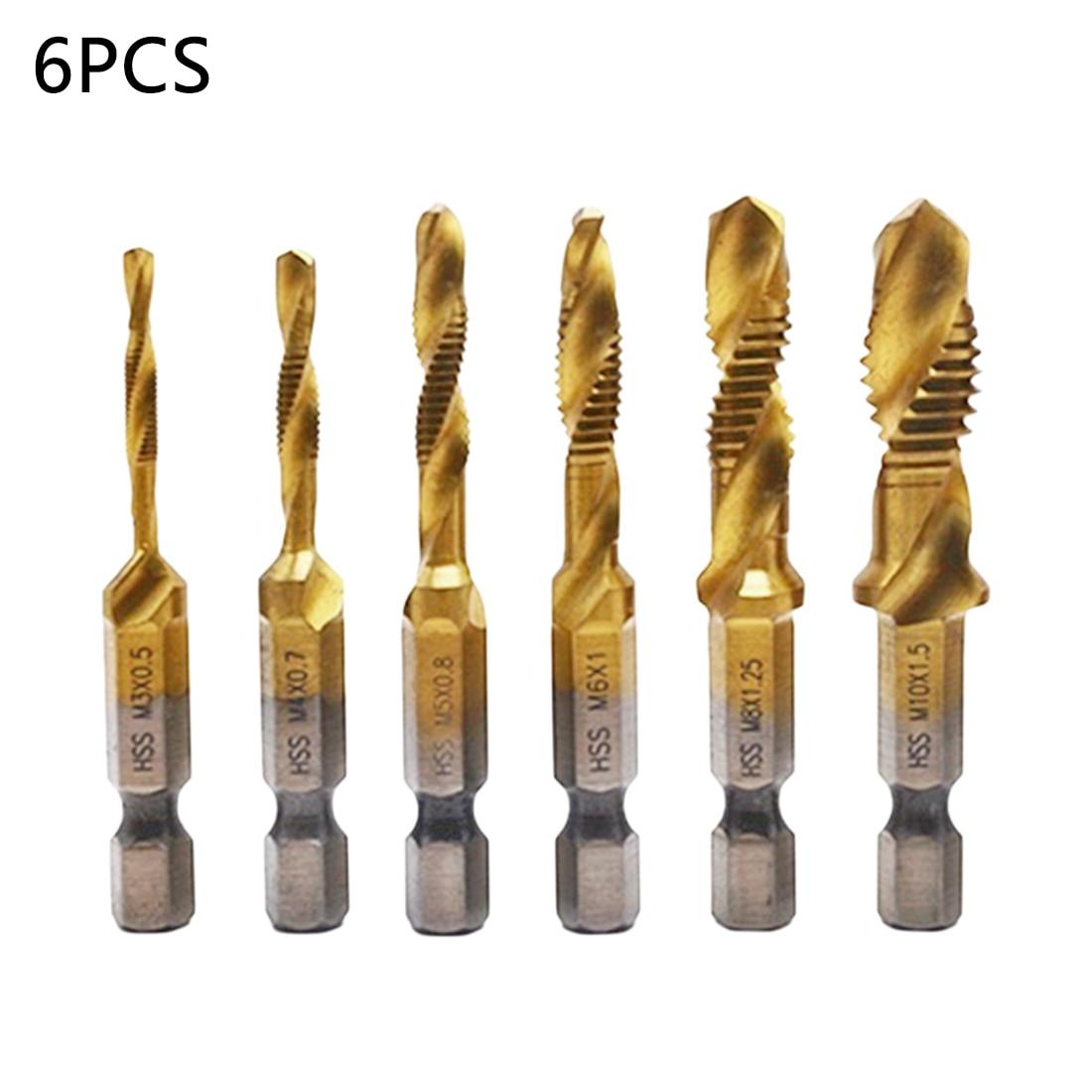 6pcs/set 1/4'' Hex Shank HSS High Speed Steel Thread Spiral Screw Metric Composite Tap Drill Bit Set Tap M3 M4 M5 M6 M8 M10
