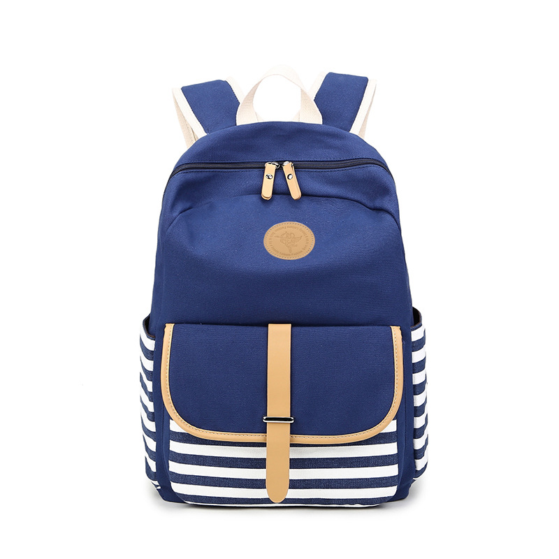 cf3a365cf555 longmiao Preppy School Bags Backpack for Girls Teenagers Cute Canvas  Striped Navy Blue Women Backpack Female