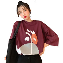 WomenT-shirt Ulzzang Korean Korea Women Fashion Clothing Cute Cartoon Print Loose Black Short Sleeve T shirt Tops