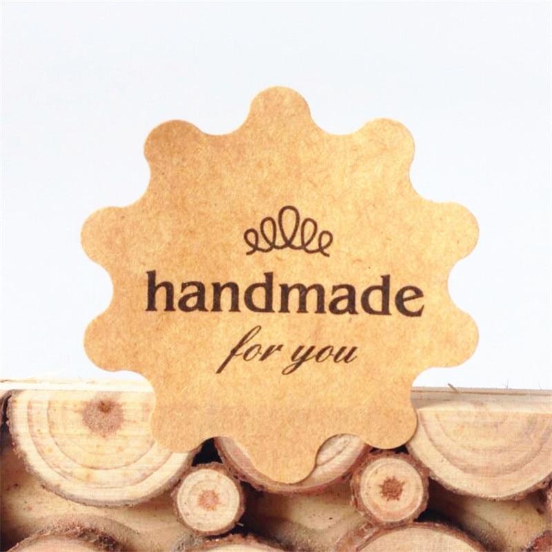 "Купить с кэшбэком 100pcs/lot Flower Shape ""Handmade For You"" Kraft Paper Seal Stickers Christmas DIY Handmade Product Gift Package Decoration Seal"