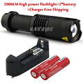 CREE XM-L T6 2000 Lumens 5 Mode Zoomable Led Flashlight torch + 2 * 18650 Rechargeable Battery + Charger