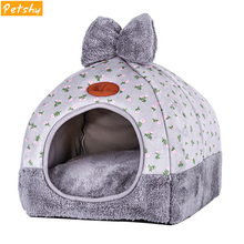 Petshy Winter Warm Cat Cave Dog House Bed Bow Design Puppy Kennel Foldable Confortable Small Medium Dogs Home Cats Nest