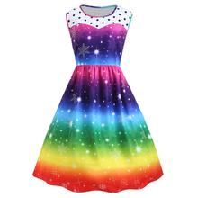 a8681a2d4a 2018 NEW Liva girl Women s Fairy princess Dress Vintage Xmas Swing Dress  Christmas Rainbow Party Winter