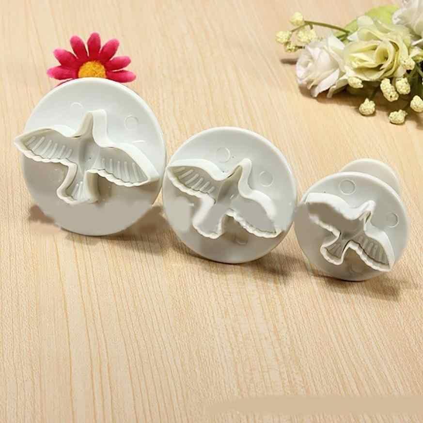 3 ピース鳩の花ケーキフォンダンクッキー飾るプランジャ金型