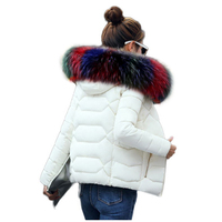 Winter Jacket Women Winter Warm Down Jacket Women Short Paragraph Slim Artificial Raccoon Fur Collar Large
