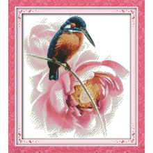 Everlasting love Alcedo atthis bengalensis Chinese cross stitch kits Ecological cotton stamped 11CT DIY new decorations for home mikado atthis pole 600