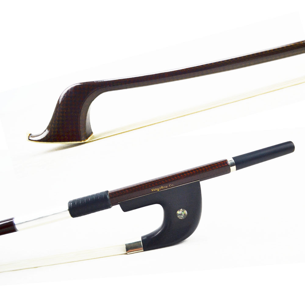 VingoBow Diamond Carbon Fiber Double Bass Bow Pernambuco Performance! Top Level Natural Mongolia Horse Hair, Warm and Sweet Tone