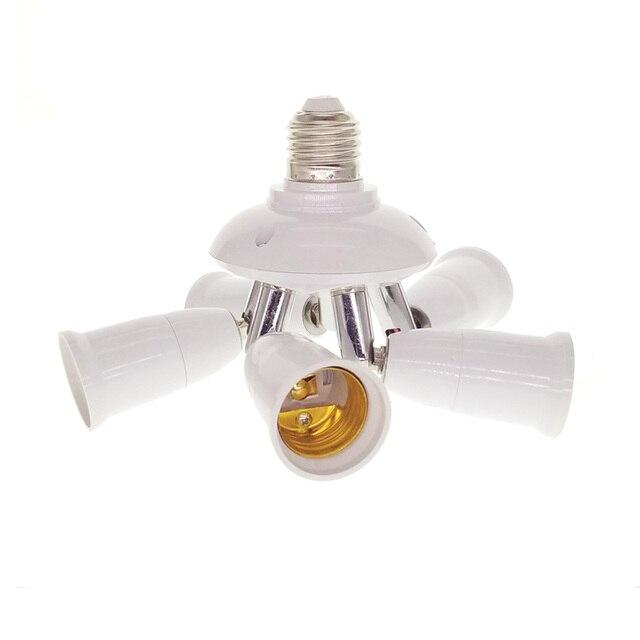 5 in 1 / 4 in 1 /3 in 1 E27 to E27 Base Light Lamp Bulb Adapters Holder Socket Splitter for Home Office Daylight Bulbs