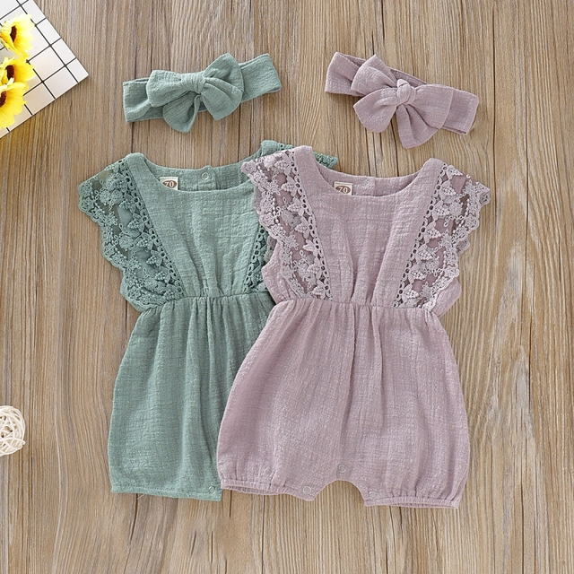 Baby Girl Toddler Flare Sleeve Solid Lace Design Romper with Headband