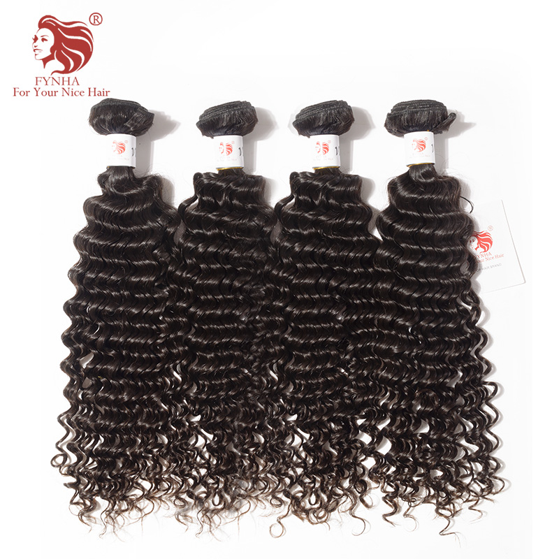 [FYNHA] Kinky Curly Brazilian Virgin Hair Weave 4 Bundles Human Hair Extensions Natural Black