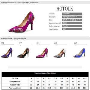 Image 5 - Kobiety pompy wysokie obcasy buty Plus rozmiar szpiczasty nosek sukienka haftowana buty kobieta cienki obcas pojedyncze buty ślubne panna młoda pompy DO